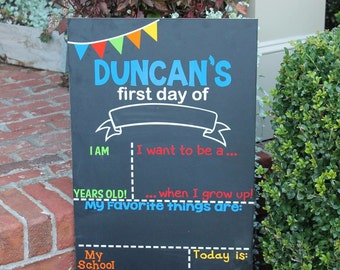 First Day of School Chalkboard Sign -will be shipped before your first day of school!!! Just tell me the date!