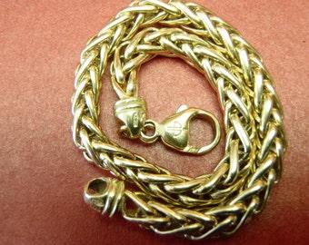 Timeless Heavy 18K Yellow Gold Wheat Link Bracelet 7.5 Inch