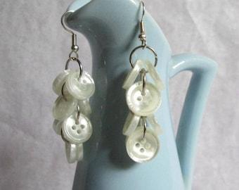 Shimmery White Buttons Dangle Earrings
