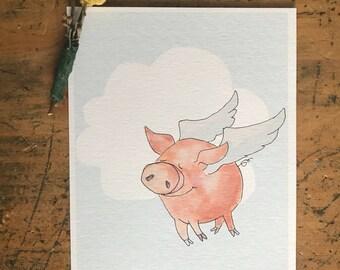 Flying Pig-watercolor pig nursery print