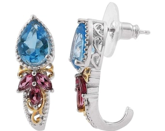 Sterling Silver Blue Topaz and Garnet Earrings