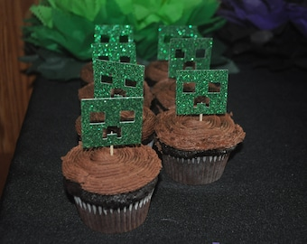 Minecraft-Inspired Cupcake Toppers | Minecraft Party Decor | Minecraft Birthday Decorations | Minecraft Cake Toppers