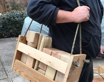 Made to Order/Kubb yard game w/Wood Carrying Case/Viking chess/viking game/outdoor game/grooms gift/wedding gift/beach game/graduation gift