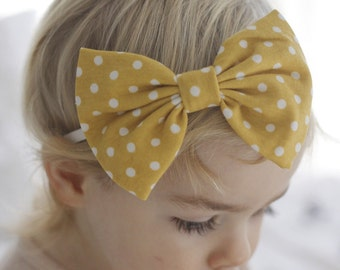 Maize Polka Dots : floppy bow, large bow, big bow, toddler bow clip, light mustard bow, yellow bow