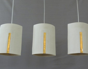 Modern pendant light. 3 hanging lampshades. Ceiling lighting fixture. Kitchen island lighting. Made to order