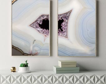 Set of 2 Agate Prints  - Prints (Print #088 & 089) - Fine Art Print - Two Paper Choices- Mineral Geode Agate Crystal Decor