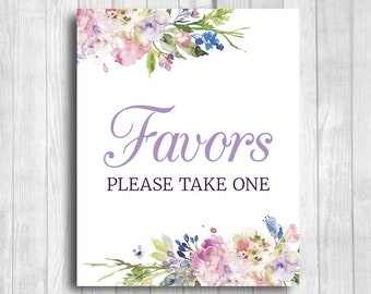 Favors Please Take One 5x7, 8x10 Bridal Shower, Baby Shower, Birthday Favor Sign - Purple and Lavender Watercolor Flowers - Instant Download