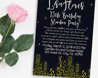 5X7 Slumber Party Invitation, Hotel Sleepover Digital Invitation