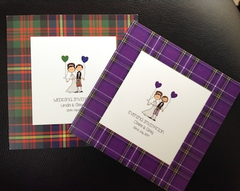Scottish Tartan Bride & Groom Personalised Wedding Invitations