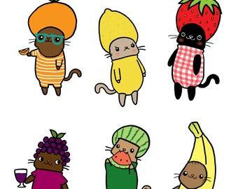 Cute Stickers Fruit Cats Cute Sticker Sheet Gift Idea Kawaii Cat Stickers