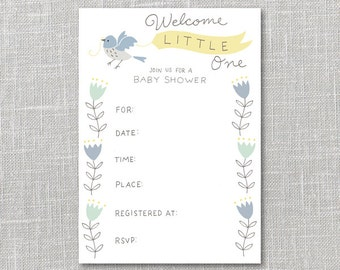 Baby Shower Invitation Yellow & Blue Printable Instant Download PDF