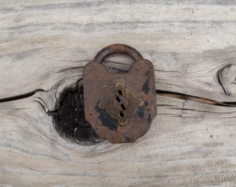 Antique Vintage Rusty Lock Fathers Day Gift