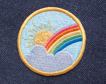 Rainbow Sunshine patch - Iron on Patches - Embroidered Patch - Cute Patches - Patches for Jackets - Sew on patch - Patch Game - Gifts