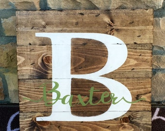Monogram Pallet Wood Sign, 14 x 14 Wood Sign, Family Name Wood Sign, Custom Monogram Wood Sign, Rustic Pallet Wood Sign, Last Name Wood Sign