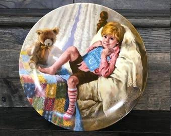 """Vintage Mother Goose Collector Plate - """"Diddle DIddle Dumpling"""" - Great Baby Shower gift, Collector Plates,"""
