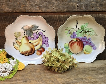 Lefton China Wall Plates/Fruit/Hand Painted/NE 3001/Gold Trim