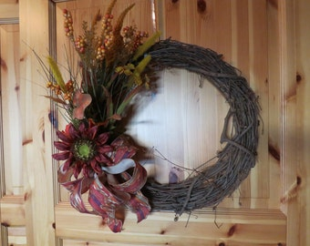 Grapevine Fall Wreath, Rustic Wreath, Year Round Wreath, Red Silk Flowers, Front Door Wreath