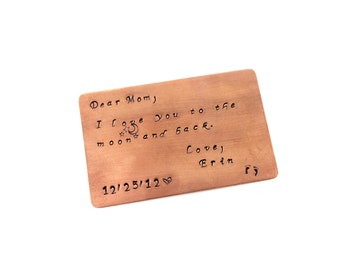 Personalized Custom Copper Wallet Insert Keepsake Card Standard Credit Card Size