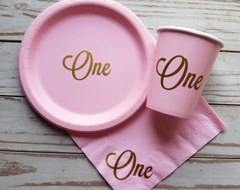 Pink and gold first birthday plates, cups, napkins, first birthday party pink and gold plates, cups, first birthday one cups, plates, napkin