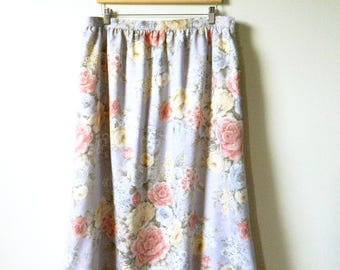 Vintage Romantic Floral Rose Skirt / Secret Garden Midi Skirt / High Waisted Floral / Tapestry Floral Skirt in Lavender