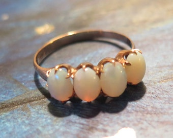 Victorian 10K Gold Opal Ring 4 Opals Hallmarked Great Condition 1880s Sz 7.25