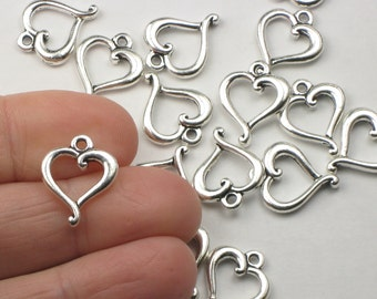 Silver Heart Charms, 2+ TierraCast Jubilee Style, Antiqued & Plated, Lead Free Pewter, Feminine Swirly Design for Jewelry Making