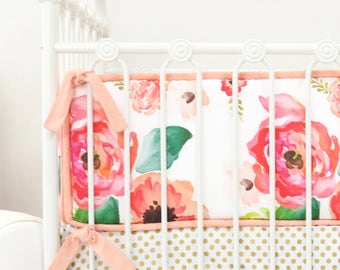 Peach and White Boho Chic Floral Crib Bumpers | Peach, Coral, White, Floral, Flower, Boho Baby Girl Crib Bumpers