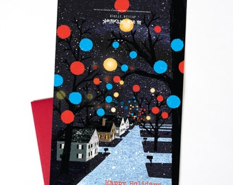 Christmas Card, Christmas Lights Single Holiday Card, Greensboro Christmas Lights Greeting Card