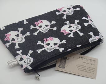 Skull & Crossbones Bag, Makeup Bag, Cosmetic Clutch, Zip Pouch, Pencil Case, Pink Pirates, Gifts for Her - One of A Kind
