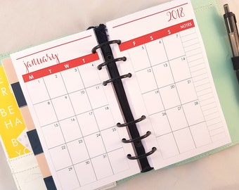 Personal Size Month on two pages Printed Planner Inserts | Dated Printed Planner Inserts | Planner refill filofax refill, MM agenda, etc