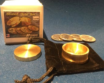 Beveled Okito Box Quarter Size, 4 Coin by Ronjo Exclusive Magic