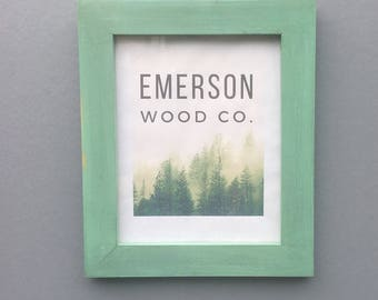 Painted Green Frame / 16X20, 12X16 Hardwood Frame / Rustic Farmhouse Decor / Distressed Weathered Wood Frame