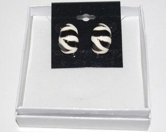 KJL Pierced Earrings - Black and White Striped - S2482