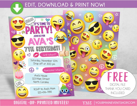 Emoji Party Birthday Invitation, Emoji Party Invite, Girls Emoji Invitation, Sleepover Texting Birthday Invites, Thank You Card