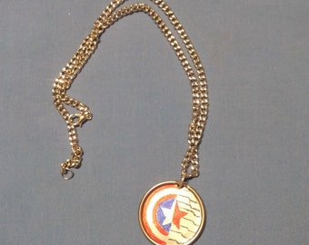 Captain America/Winter Soldier Necklace Upcycled Handpainted
