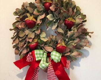 Strawberry Wreath-Summer Wreath-Fruit Decoration-Farm Wedding-Small Wreath-Kitchen Wreath-Country Wreath