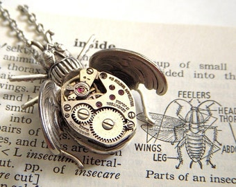 Steampunk Necklace Bug Jewelry Gothic Victorian Flying Insect Silver Plated Vintage Movement From Cosmic Firefly
