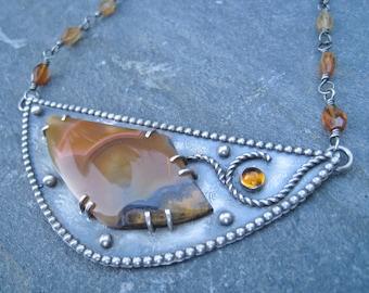 Rust color pendant, bib necklace, autumn colors pendant necklace, harvest colors pendant necklace, Garnet necklace, Moctezuma agate pendant