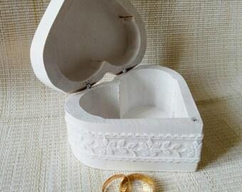 ring bearer wedding white, wooden jewelry box wedding wooden heart