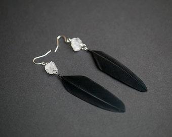 Clear quartz earrings Quartz jewelry Crystal earrings Raw crystal Wedding jewelry Boho wedding jewelry Bridesmaid gift  Black earrings Boho