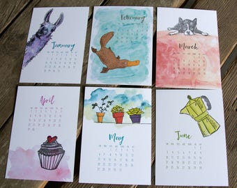 Refill 2018 Watercolor and Letterpress Collection Desk Calendar, hand drawn, letterpress printed eco friendly