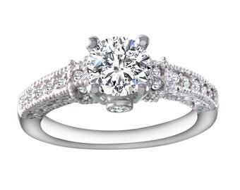 Women's Diamond and Moissanite Engagement Ring
