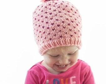Tiny Polka Dot Hat KNITTING PATTERN / Polka Dot Pattern / Polka Dot Baby Hat / Fair Isle Baby Hat / Polka Dot Beanie / Colorful Hat Pattern