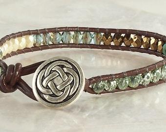 Vaci Bracelet - Brown Leather, Wrap Bracelet, Beaded Bracelet, Bohemian Jewelry, Graduation Gift, Leather Bracelet, Czech Glass Jewelry