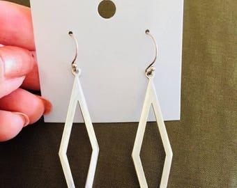 Diamond-shaped Sterling Silver Danglings (Silver 925). SN #215