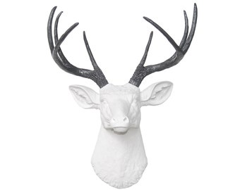Faux Deer Head Wall Mount - White and Gray Antlers - Deer Head Antlers Faux Taxidermy Wall Mount D0115