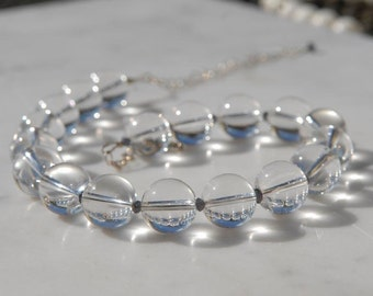 Clear Quartz and Iolite Chunky, Elegant Necklace