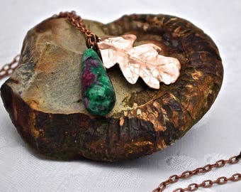 Handmade Copper Oak Leaf and Reiki Bloodstone Drop Pendant.