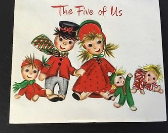 Vintage Christmas greeting card, Doll family, from the 5 of Us, Hallmark