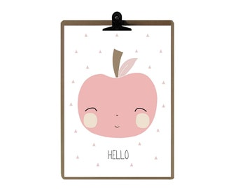Apple nursery print - Pink color Nursery art prints - baby nursery decor - nursery wall - Children Art - Kids Room